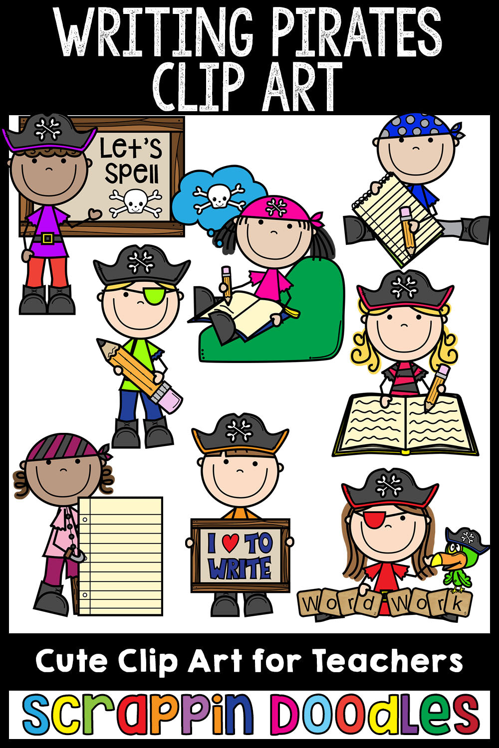 Writing Pirates Clip Art