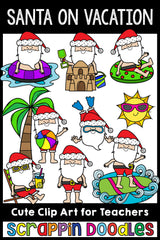 Santa On Vacation Clip Art