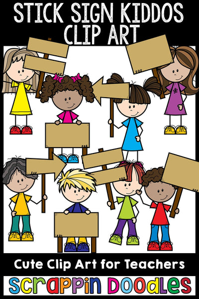 Stick Sign Kiddos Clip Art Kids Holding Wooden Signs