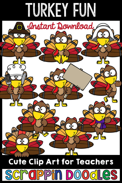 Turkey Fun Clip Art Cute Thanksgiving Turkey Graphics