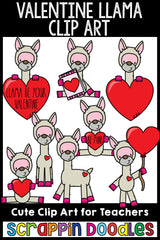 Cute Commercial Use Valentine Llama Clip Art