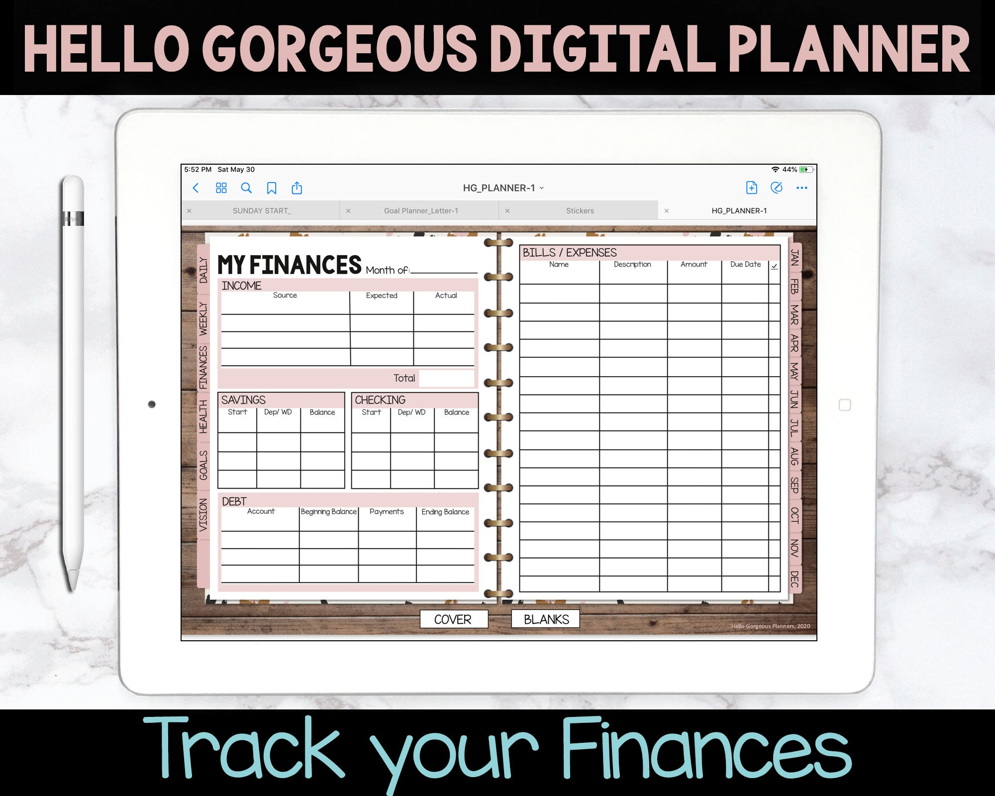 Hello Gorgeous Animal Print Digital Planner - Leopard Print - Undated Instant Download