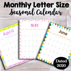 Customizable Monthly Letter Sized Dated 2020 Printable Calendar {Creatables}