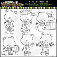 Back To School Ted - Cute Bear Clip Art