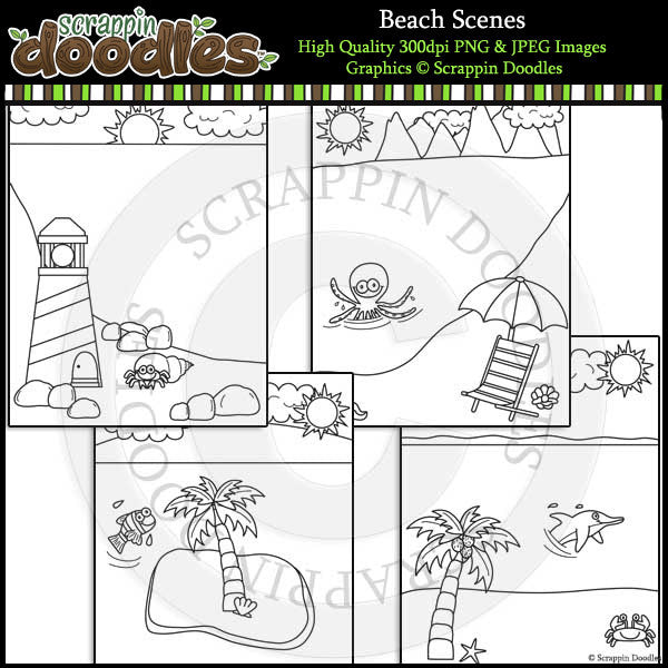 Beach Scenes Backgrounds - Summer Clip Art