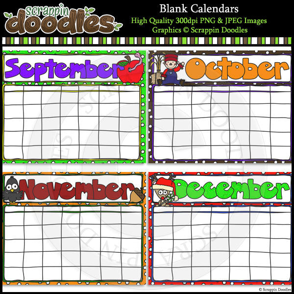 Blank Year Round Calendars - 4 Styles to Choose From