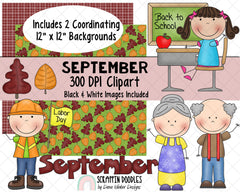 Calendar ClipArt - September Bulletin Board - September ClipArt - Grand Parents Day ClipArt - Holiday ClipArt - Labor Day ClipArt - Autumn ClipArt