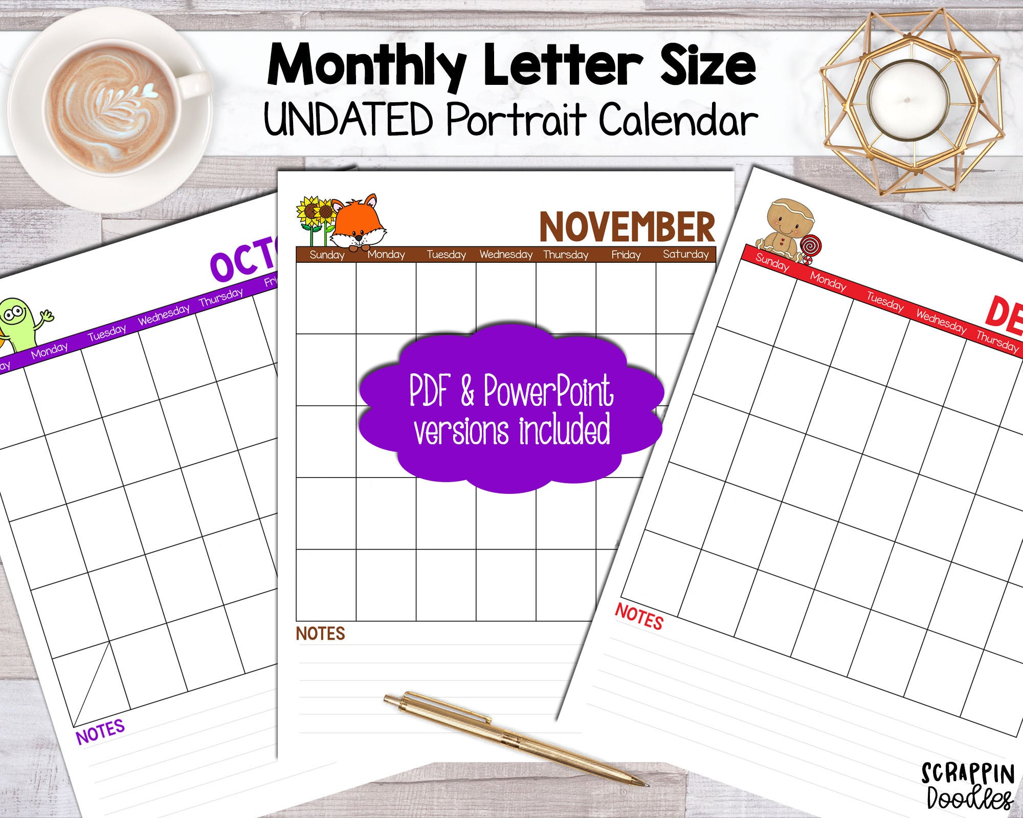 UNDATED Monthly Printable Calendar - Portrait Letter Sized PDF Power Point