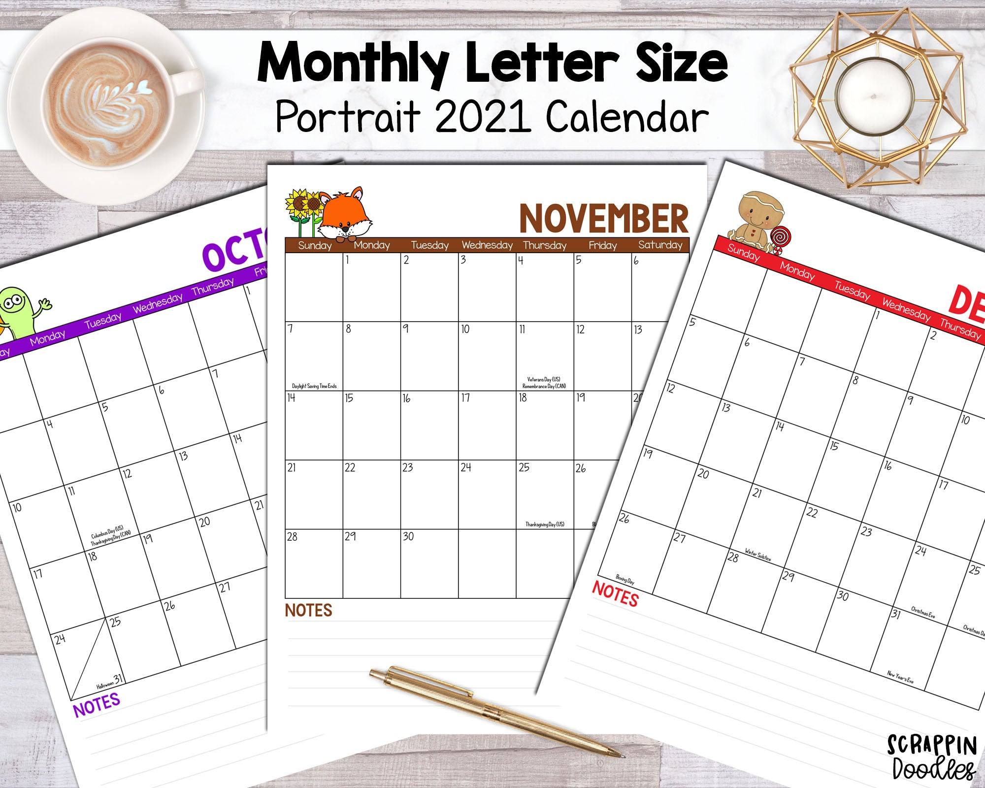 2021 Monthly Printable Calendar - Portrait Letter Sized