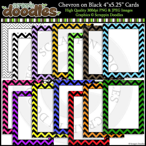 "Chevron on Black 4"" x 5-1/4"" Cards"