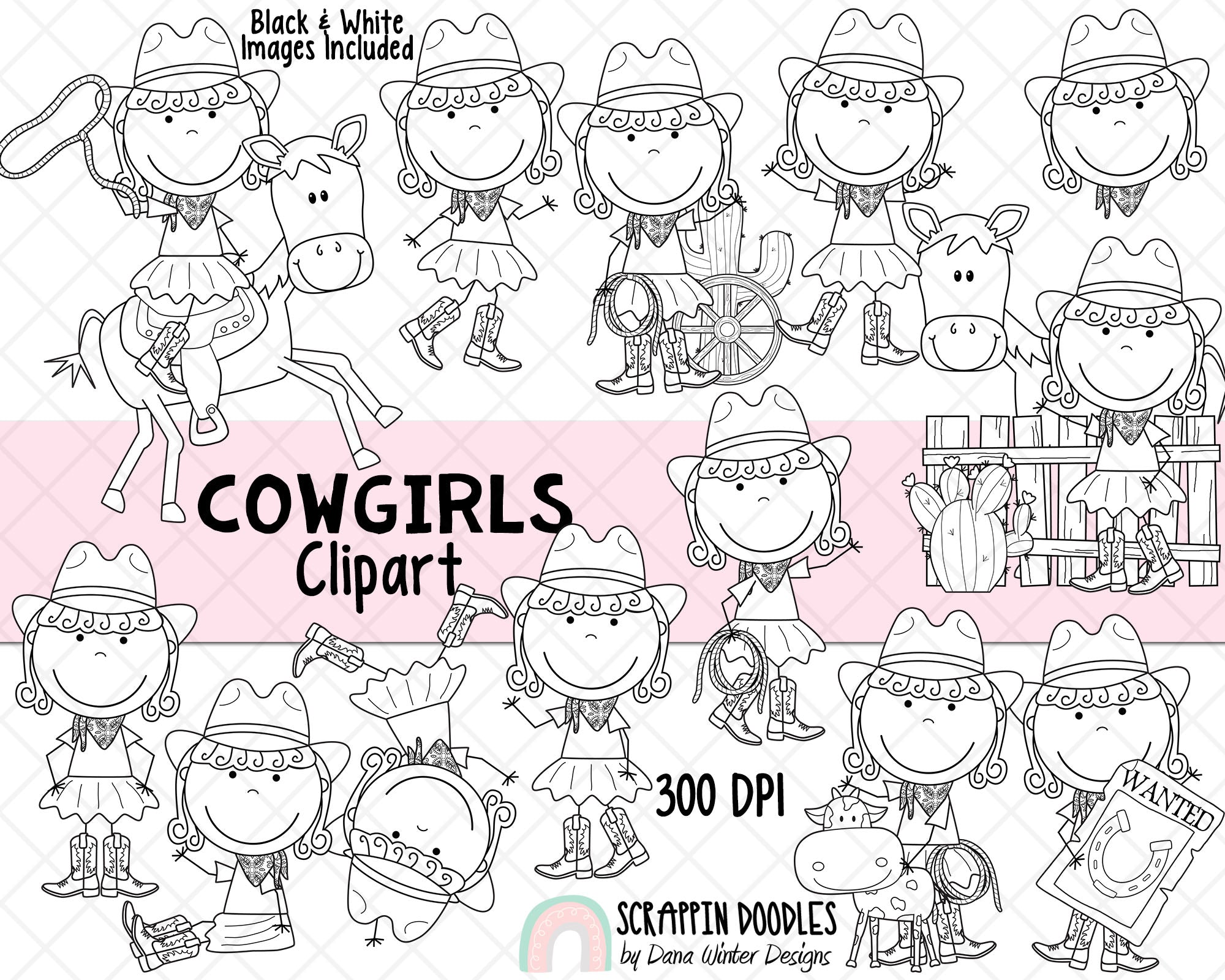 Cowgirl ClipArt - Cowgirls - Western ClipArt - Wild West Clipart - Southwest ClipArt - CowGirl Riding Horse ClipArt - Wanted Poster