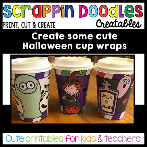 Halloween Cup Wraps Printable Craft