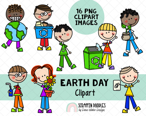 Earth Day Clipart - Doodle Earth Day Boys - Instant Download - Environmental Kids - Reduce, Reuse, Recycle Graphics - Eco Friendly Sublimation