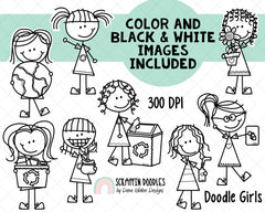 Earth Day Clipart - Doodle Earth Day Girls - Instant Download - Environmental Kids - Reduce Reuse Recycle Graphics - Eco Friendly