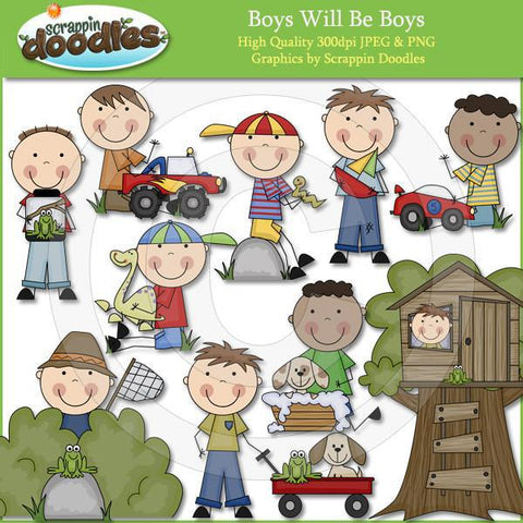 Boys Will Be Boys - Boy Clip Art