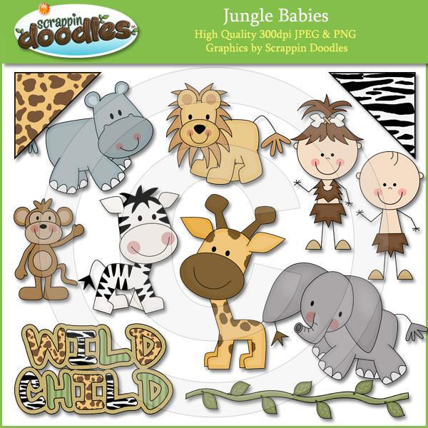 Jungle Babies Clip Art Download