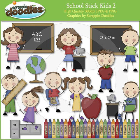 School Stick Kids 2 Clipart Download