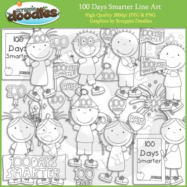 100 Days Smarter Clip Art Download