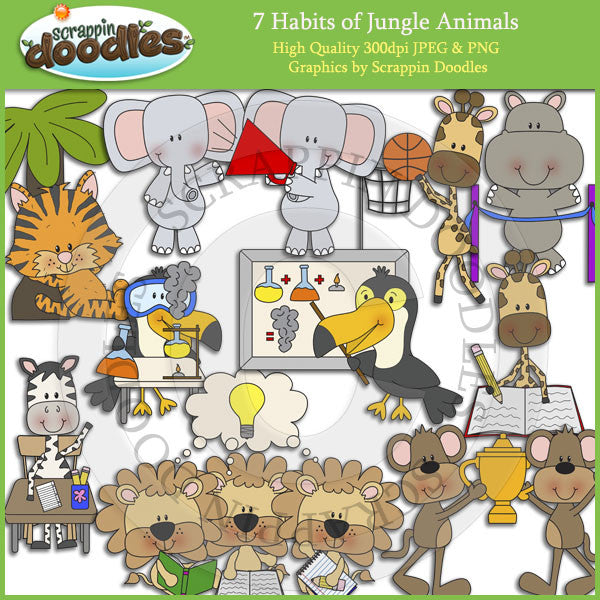 7 Habits of Jungle Animals Clip Art Download