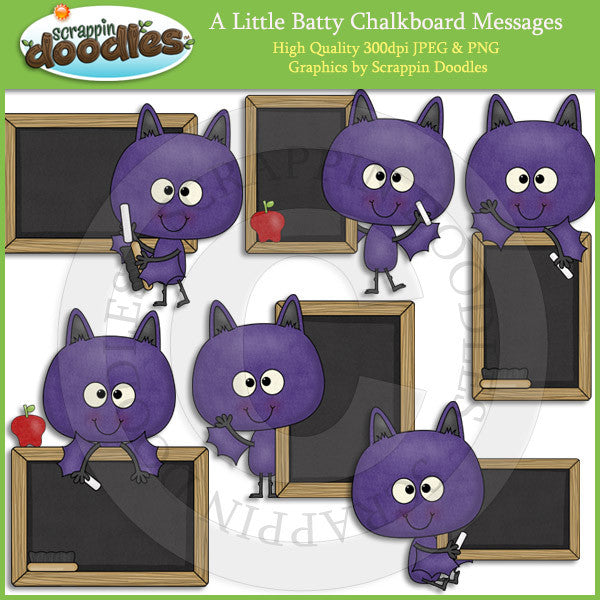 A Little Batty Chalkboard Messages Clip Art Download