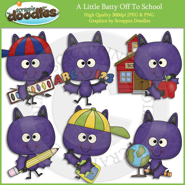 A Little Batty Off To School Clip Art Download