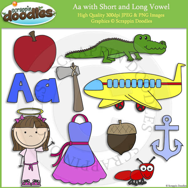Aa Short and Long Vowel Clip Art and Line Art