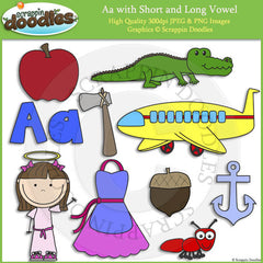 Letter A - Short and Long Vowel Clip Art