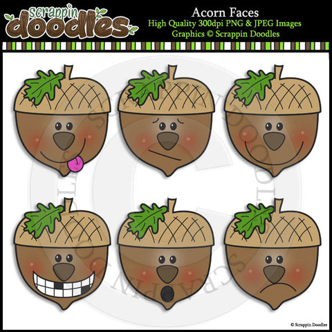 Acorn Faces Clip Art & Line Art