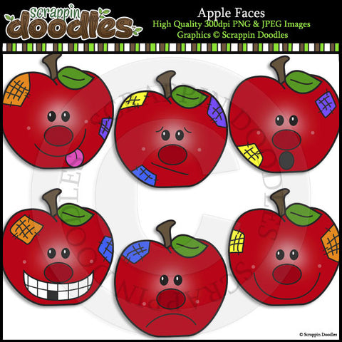 Apple Faces Clip Art & Line Art