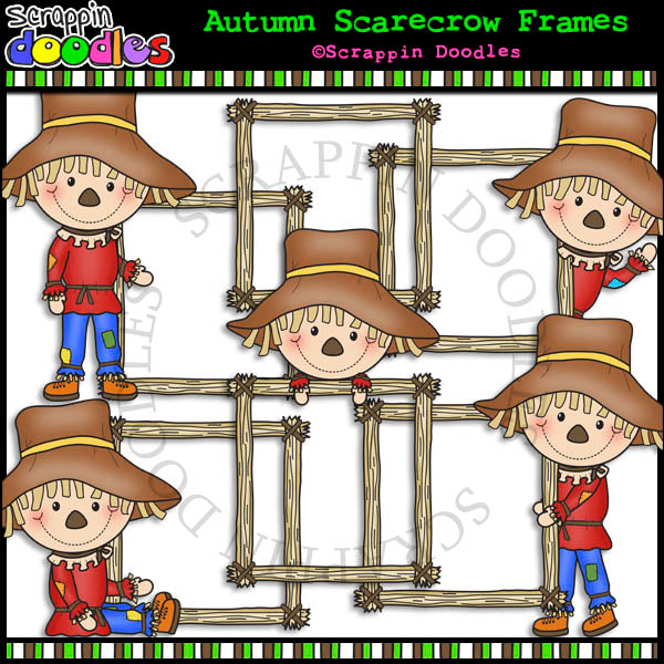 Autumn Scarecrow Frames - Fall Seasonal Clip Art