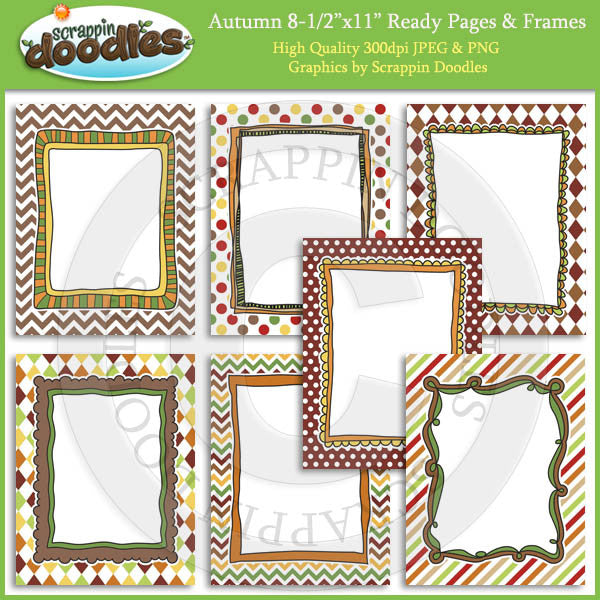 Autumn Ready Pages & Frames - Fall Seasonal Clip Art