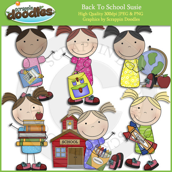 Back To School Susie - School Girl Clip Art Download