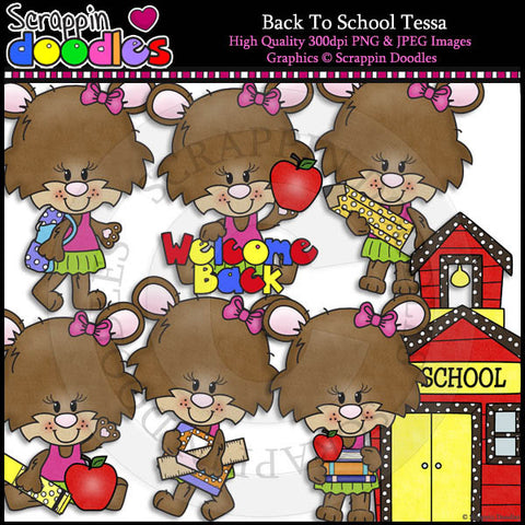 Back To School Tessa - Cute Bear Clip Art