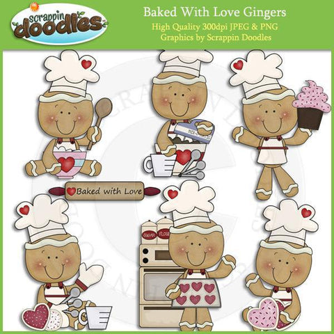 Baked with Love Gingers - Christmas Baking Clip ArtDownload