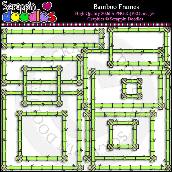 In The Jungle Bamboo  Frames Clip Art & Line Art