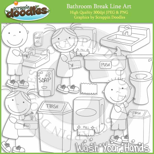 Bathroom Break - Hygiene Clip Art