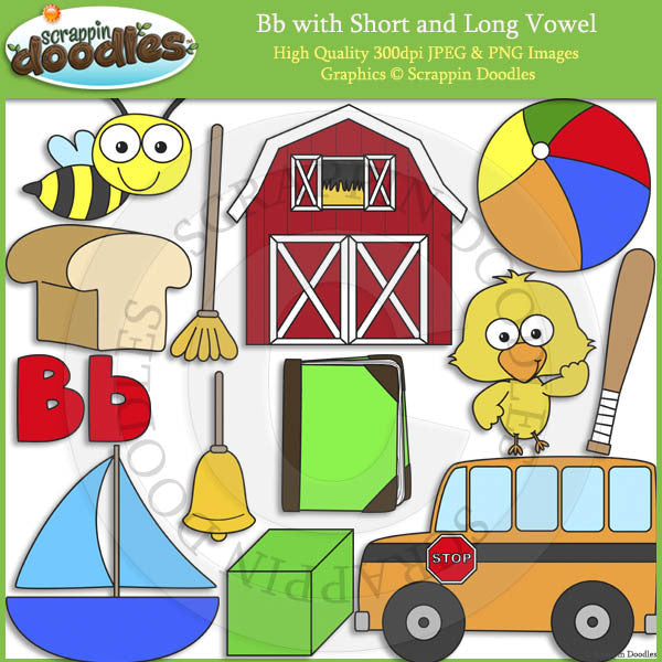Bb Short and Long Vowel Clip Art and Line Art
