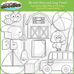Letter B - Short and Long Vowel Clip Art