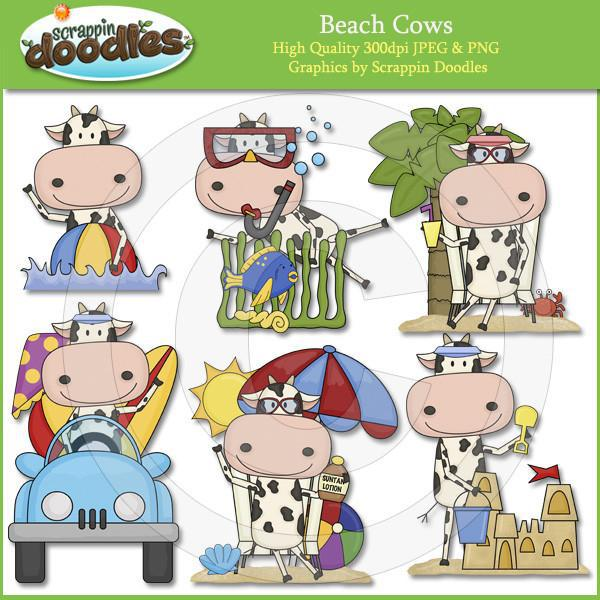Beach Cows Clip Art Download