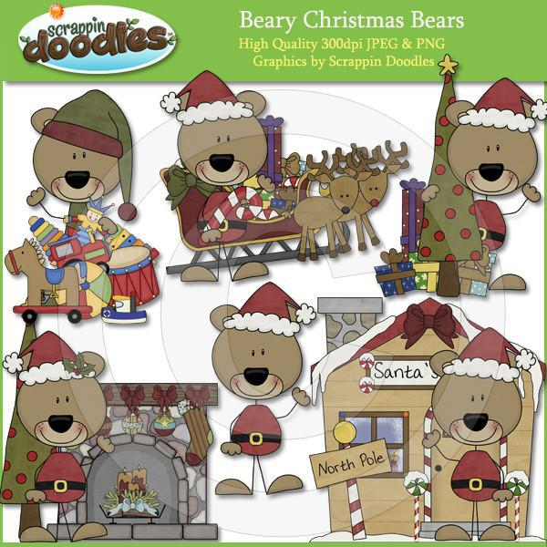 Beary Christmas Bears - Cute Bear Clip Art
