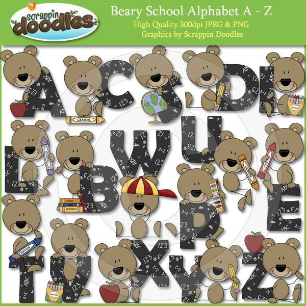 Beary School Alpha A to Z Clip Art Download