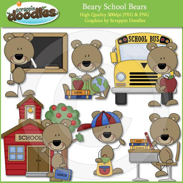 Beary School Bears Clip Art Download