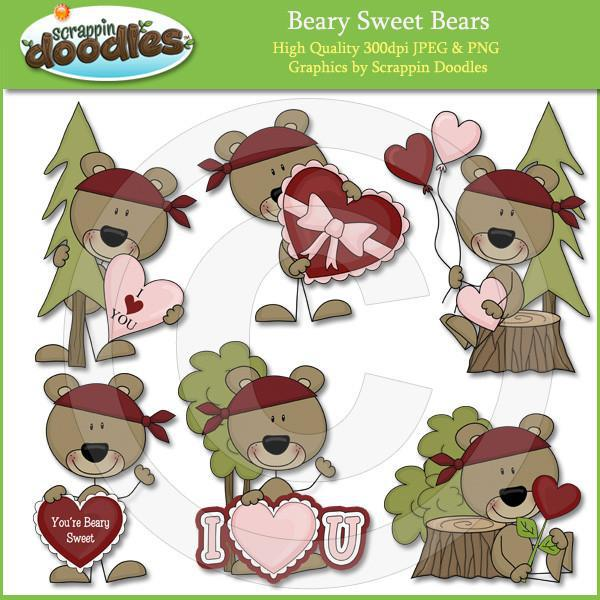 Beary Sweet Bears - Cute Valentine Bear Clip Art