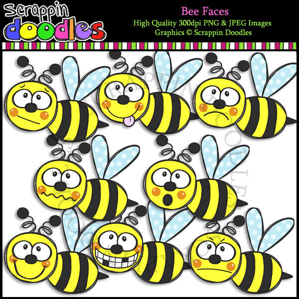 Bee Faces - Emotion Clip Art