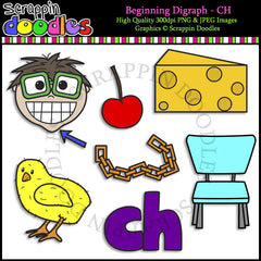 Beginning & Ending Digraph CH Clip Art Bundle