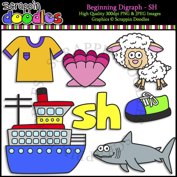 Beginning & Ending Digraph SH Clip Art Bundle