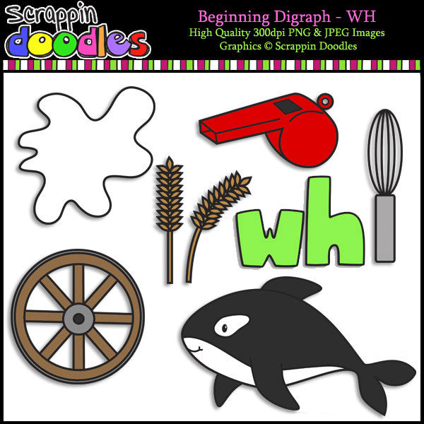 Beginning & Ending Digraph WH Clip Art Bundle