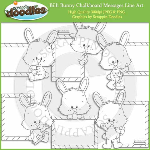 Billi Bunny Chalkboard Messages - Cute Rabbit Clip Art