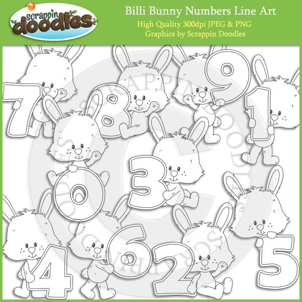 Billi Bunny Numbers - Cute Rabbit Clip Art