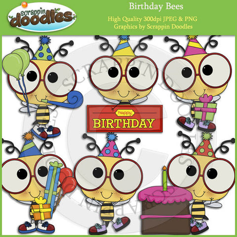 Birthday Bees Clip Art